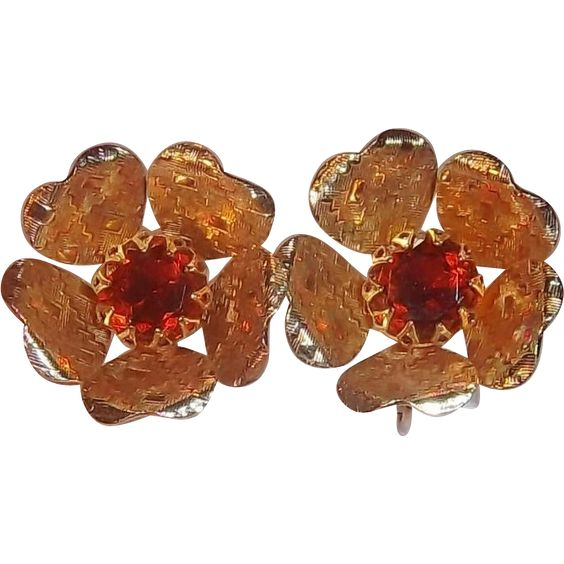 Sarah Coventry Rhinestone Ember Flower 3-D Goldtone Metal Clip on Earrings. Vintage Costume Jewelry under $25 at Ruby Lane www.rubylane.com @rubylanecom