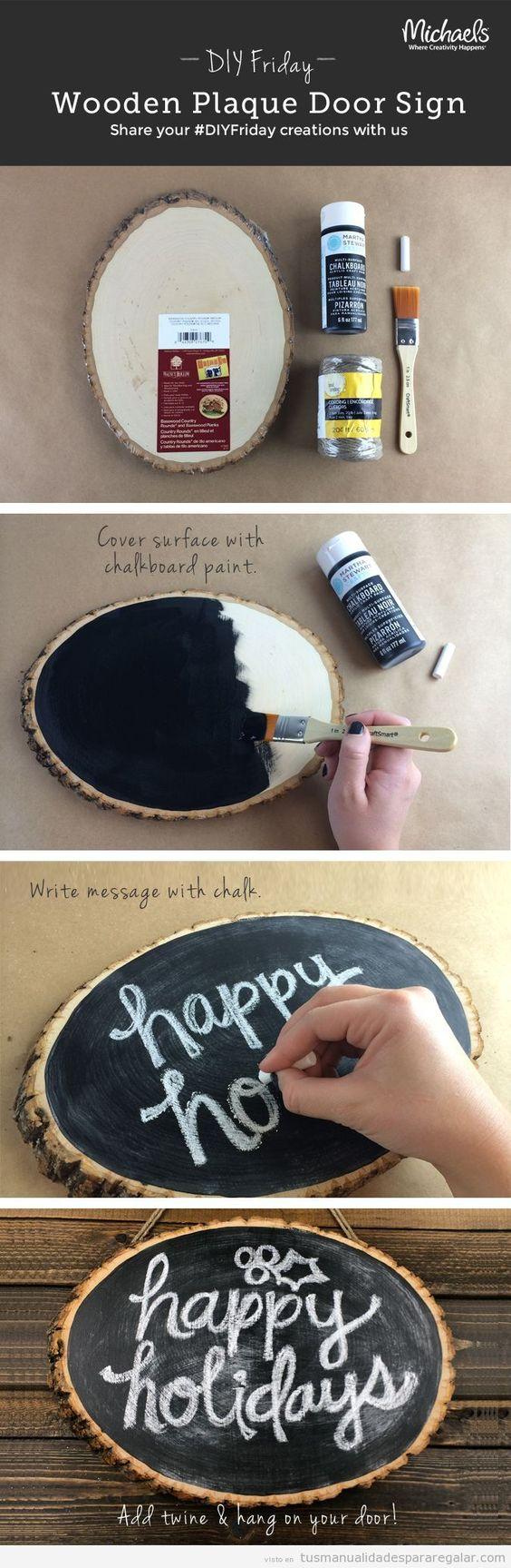 Cómo hacer cartel de madera y pizarra para una puerta DIY | Manualidades para regalar