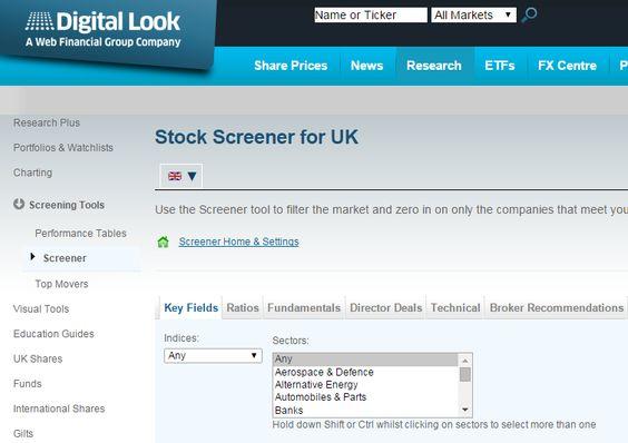 Digital Look - UK Stock Screener