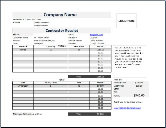 Contractor Receipt at http\/\/wwwreceipts-templates\/contractor - free receipts templates