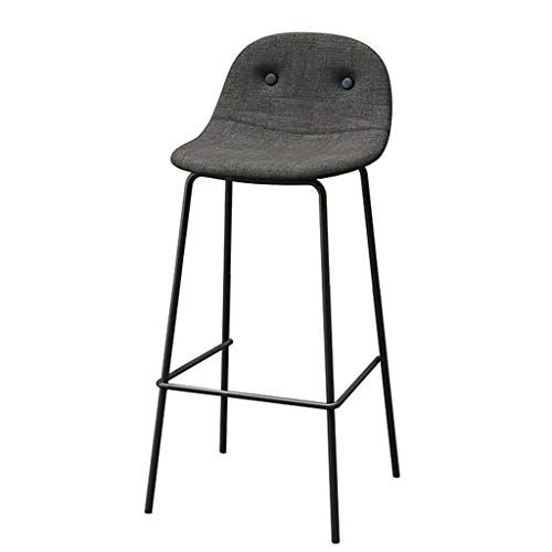 Barstools Backrest Modern Simplicity Leisure Metal Chair Bar Stools With Linen Cover Seat Footrest Dining Chairs For Brea Pub Stools Metal Chairs Modern Chairs