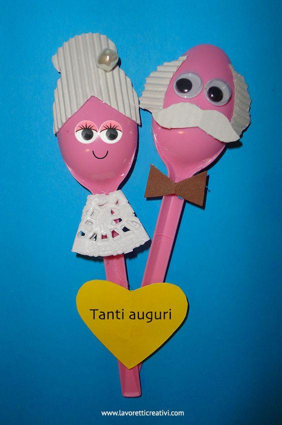 LAVORETTI CON CUCCHIAI DI PLASTICA Nonni realizzati con cucchiai di plastica e cartoncini colorati. Festa dei Nonni Materiale: 2 cucchiai di plastica di colore rosa cartoncini colorati perlina penn...