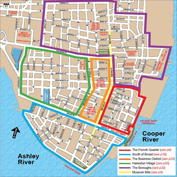 Charleston SC DistrictsNeighborhoodsMapjpg 1500 1500 – Tourist Attractions Map In Charleston Sc