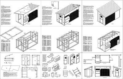 6/' x 12/' Walk in Modern Chicken Coop Plans Material List Included # 80612CM