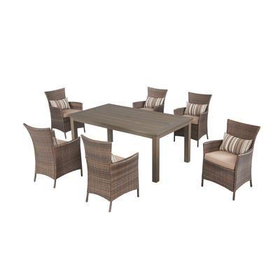 hampton bay mobilier de salle manger en osier tacana de 7 pi ces frs50421hp st home. Black Bedroom Furniture Sets. Home Design Ideas
