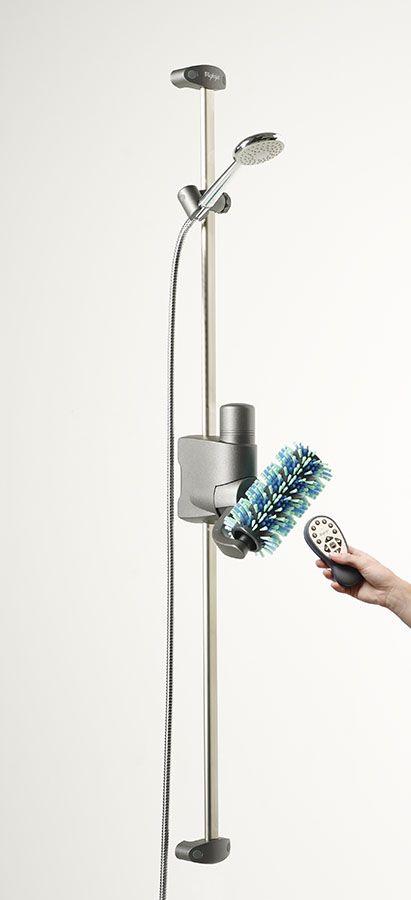 Automatische Duschbürste für entspannende Duschmassagen, vom Nacken bis zu den Füssen.  Mittels Akku angetrieben, ist dieses Duschsystem einfach in jeder Dusche und jedem Bad montierbar.