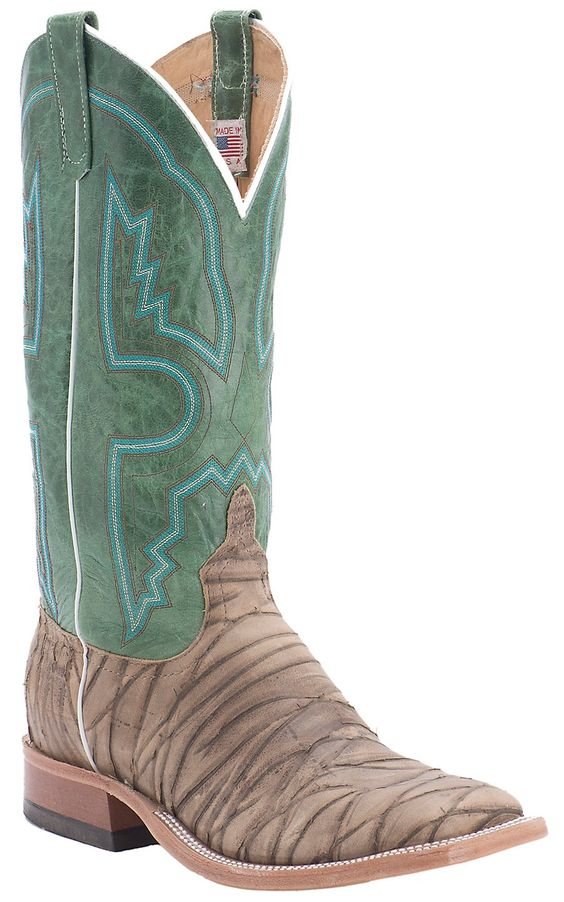 Anderson Bean® Men's Dirty Sasquatch with Emerald Top Double Welt Square Toe Cowboy Boots