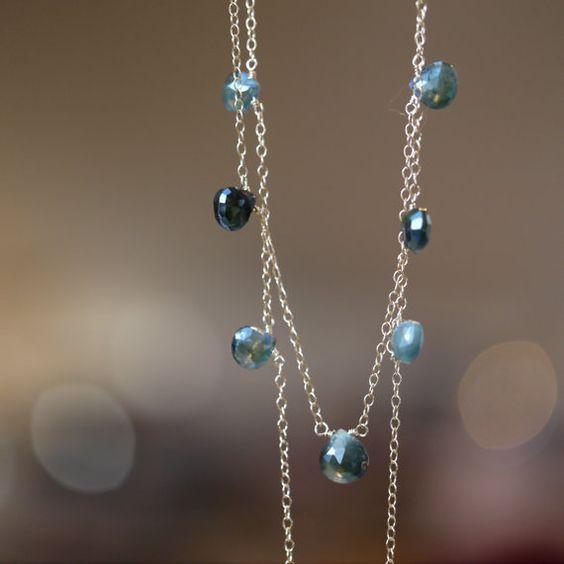 Dainty Blue Sapphire Briolette Station Necklace on Gold by AUREATA, $86.00