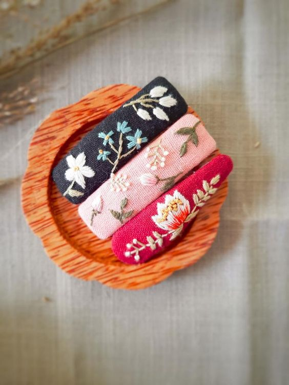 3PCS snap clipsEmbroidered snap clipsHand embroidered   Etsy
