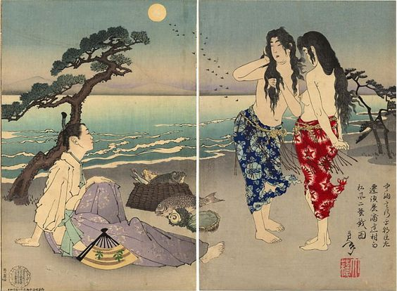The poet, Ariwara no Yukihara, talking with two Awabe divers. (In fact, the sisters Murasame and Matsukaze).  by Yoshitoshi (ca 1886).: