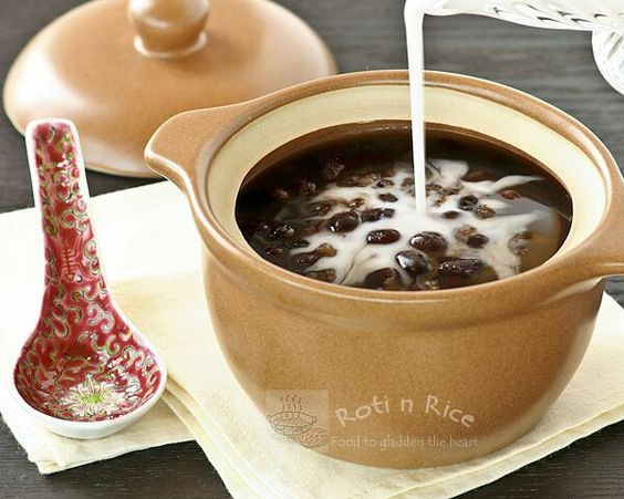 Chinese Sweet Red Bean Soup dessert made with small dried red beans ...