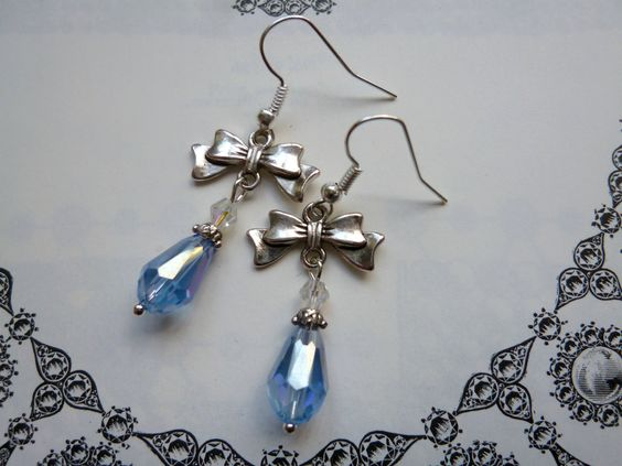 NOW SOLD! Deco Bows Vintage Inspired Handmade Crystal Teardrop Earrings in Aquamarine Blue & Antique Silver Pierced or Clip On by LovesVintage43 on Etsy
