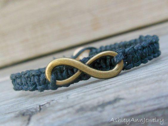 Infinity Charm Macrame Hemp Bracelet Unisex by AshleyAnnJewelry, $10.00
