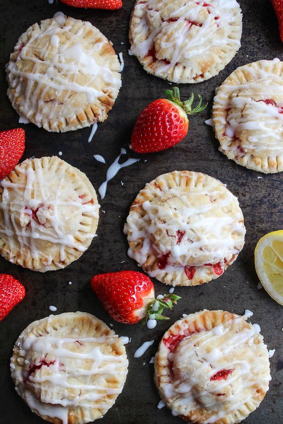 Vegan Strawberry Hand Pies with A Lemon Drizzle - made with a coconut oil crust: