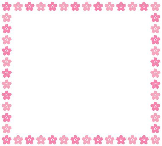 桜のフレーム飾り枠イラスト W1000 H920px 飾り枠 フレーム 可愛い フレーム