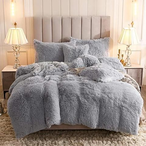 Fluffy Blanket With Pillow Cover Evehousehold Cute Bed Sheets Fluffy Bedding Cute Bed Sets