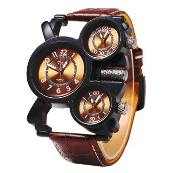 Oulm 1167 Leather Band Male Watch 3-Movt Quartz Wristwatch (BROWN) in Men's Watches | DressLily.com
