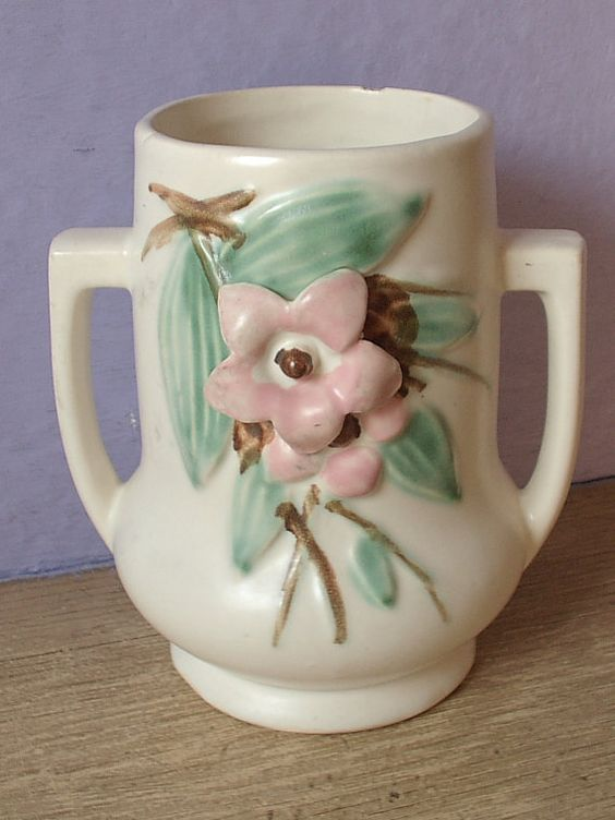 vintage 1940's McCoy pottery vase Blossom Time by ShoponSherman,