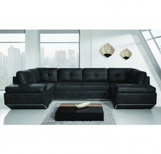 Enfield I Black Faux Leather Corner Sofa Hoekbank Retro Bank Zitkussens