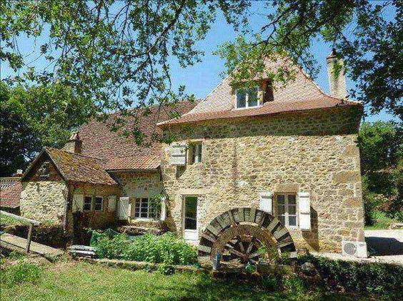 Price: EUR 299,000. For Sale in Gramat, Midi Pyrenees. Old Mill (1849) on 1.3 hectares of land with barn and gite. Ground level: living room 54 m² with fire place, old stone sink, open fittted kitchen, dressing, shower room and toilets. 1st level: 3 bedrooms (15 m², 12 m² and 9 m²). 2nd level: large bedroom 23 m². Possibility to acceed to the barn from the ground level. Terrace 30 m². Baker's oven. Stone outbuilding used as a gite 25 m². Garden. Near all amenities. In the middle of some…