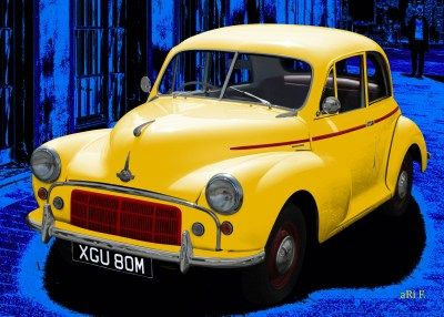 Morris Minor in blue & yellow