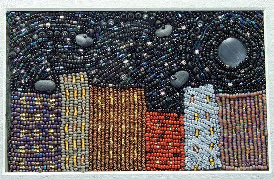 City Nights // Beaded Painting // Bead Embroidery // Mixed Media Art // Beadwork // Seed Beads