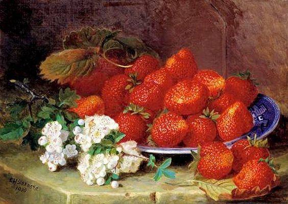 Eloise Harriet Stannard (1829-1915) — Still Life with Strawberries  (700x498):