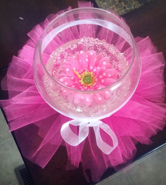 Girl Baby shower centerpieces, I made these for my baby shower my theme was birds and flowers:) the inside is gel wax