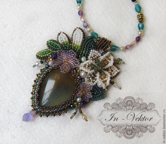 Купить Цветы любимой - зеленый, кулон натуральный камень, Кулон ручной работы, in-vektor