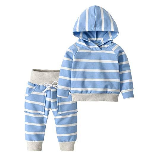 Infant Baby Boys Girls Long Sleeve Striped Hooded Pullover Tops Pants Outfits