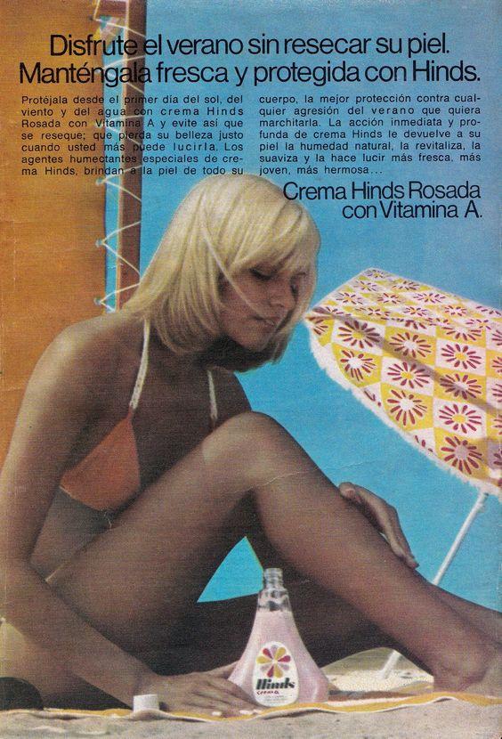 Crema HINDS, 1976. Modelo, Adriana Aguirre.: