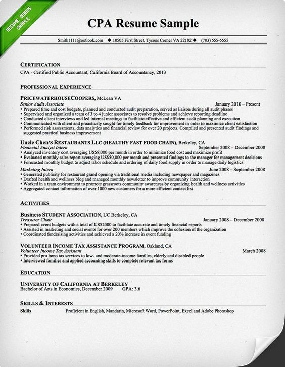 CPA Resume Sample diaries Pinterest Writing guide and Interiors - us resume examples