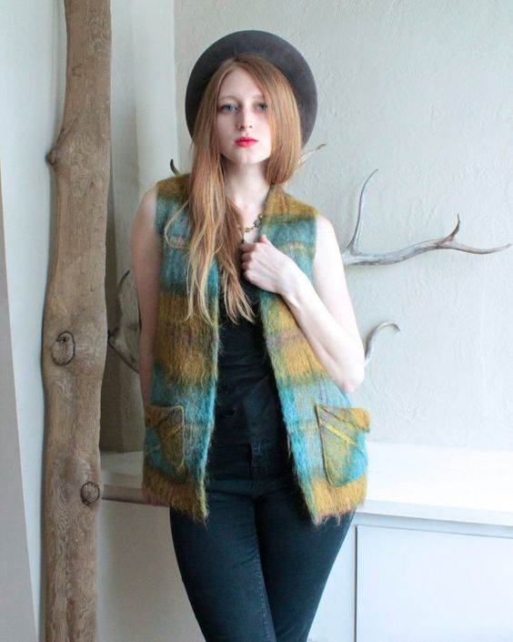 """Vintage 70s Scottish SWEATER VEST Earthy boho fuzzy MOHAIR Wool Woman Small Size Woodland Shadow Plaid """"Andrew Stewart"""" Scotland knit jacket by HarlowGirls on Etsy"""