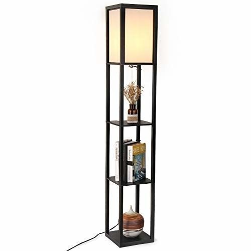Floor Lamp Display Shelf Modern Standing Knick Knack Tower Tall Bedroom Light Modern Shelving Floor Lamp Floor Lamp With Shelves