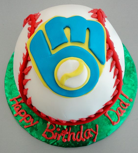 Brewers baseball cake by slice custom cakes
