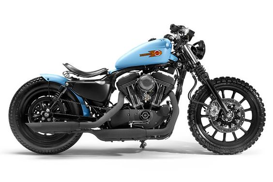 Sportster bobber with awesome seat.