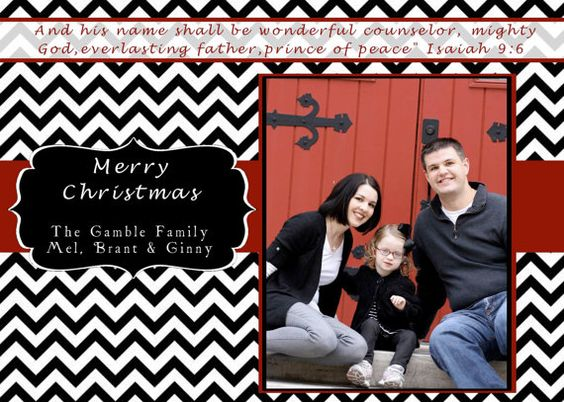Black & Red Cheveron Christmas Card by BrooklynGraceyDesign, $39.50