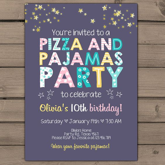 Invitations, Pizza And Pajama Party On Pinterest