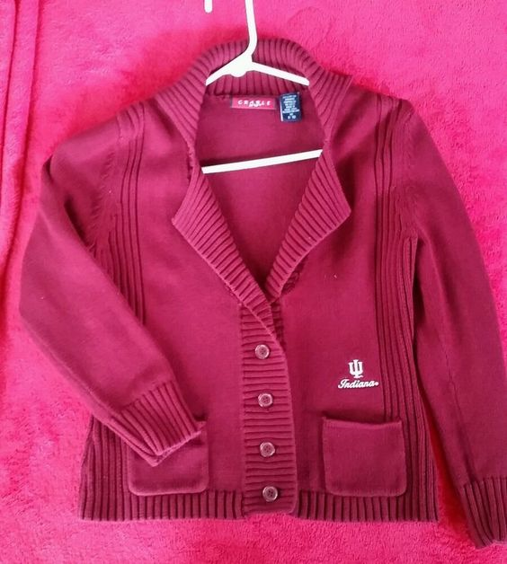 IU Indiana University Women's button up cardigan sweater Red M 8-10 Crable  #crable #Cardigan
