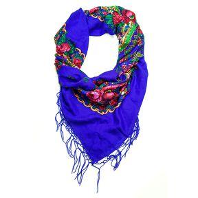 Grand foulard Folk Bleu Klein - Le Bazar des poupées Russes