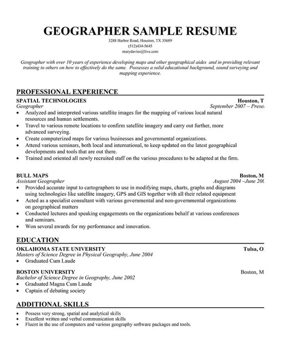 Geographer Resume Sample + Free Resume (resumecompanion - gis operator sample resume