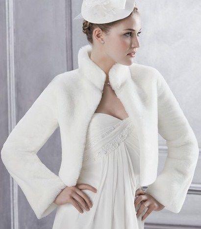 bolro fourrure marie blanc ou ivoire - Bolero Mariage Blanc