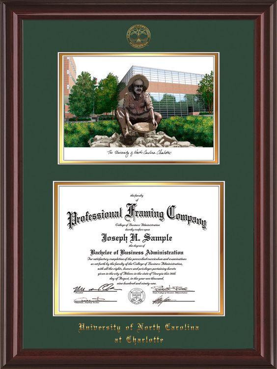 UNC Charlotte Diploma Frame - Mahogany Lacquer - Watercolor Green/Gold – Professional Framing Company