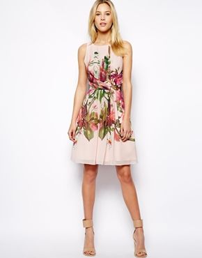 Image 4 ofTed Baker Symmetrical Orchid Print Dress