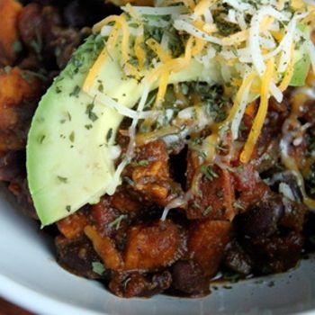 """ spicy sweet potato and black bean chili with avocado via ziplist "" - oh lordy."