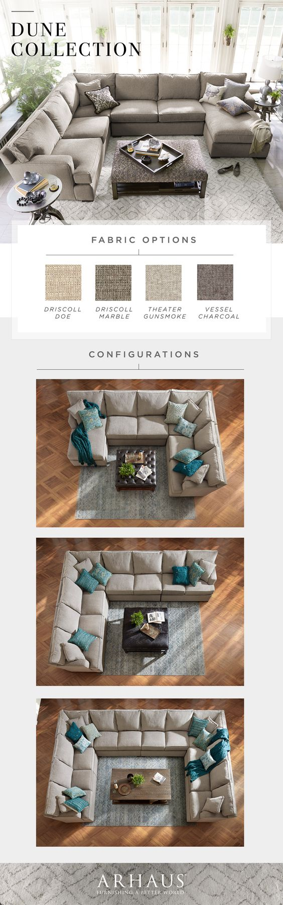 With a variety of pieces and upholstery options, Dune makes it easy to customize your comfort.