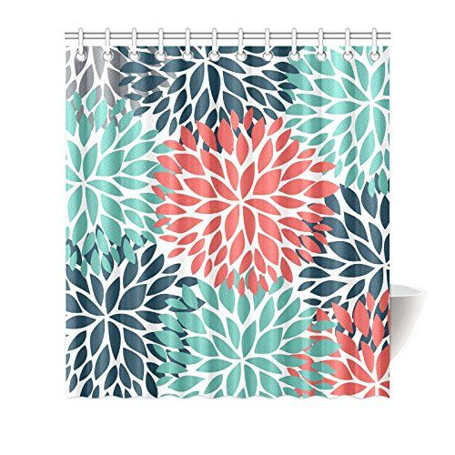 Home Shower Curtain Decor Coral Bathroom Decor Grey Decor