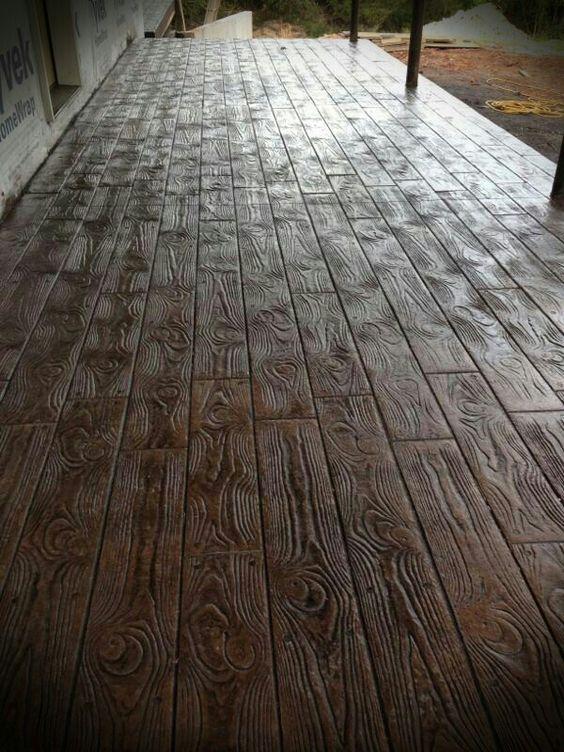 Wood Stamped concrete floors- AMAZING! Saw on backyard crashers, amazing show