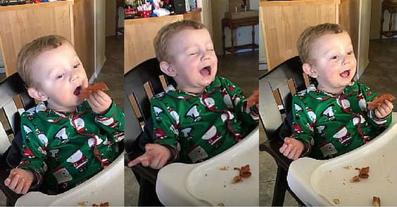 This is how I feel EVERY time I eat bacon, it's just not nearly as cute when I react this way. LOVE IT!