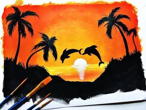 Como Pintar Un Paisajes Con Palmeras Facil Youtube Pinturas De Paisajes Faciles Como Pintar Paisajes Arte Abstracto Sobre Lienzo